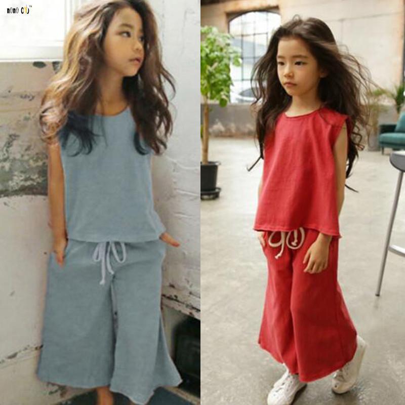 Girls set 2 pcs Top Shorts sets Sleeveless Outfit Summer Set Age 3 4 5 6 7 years