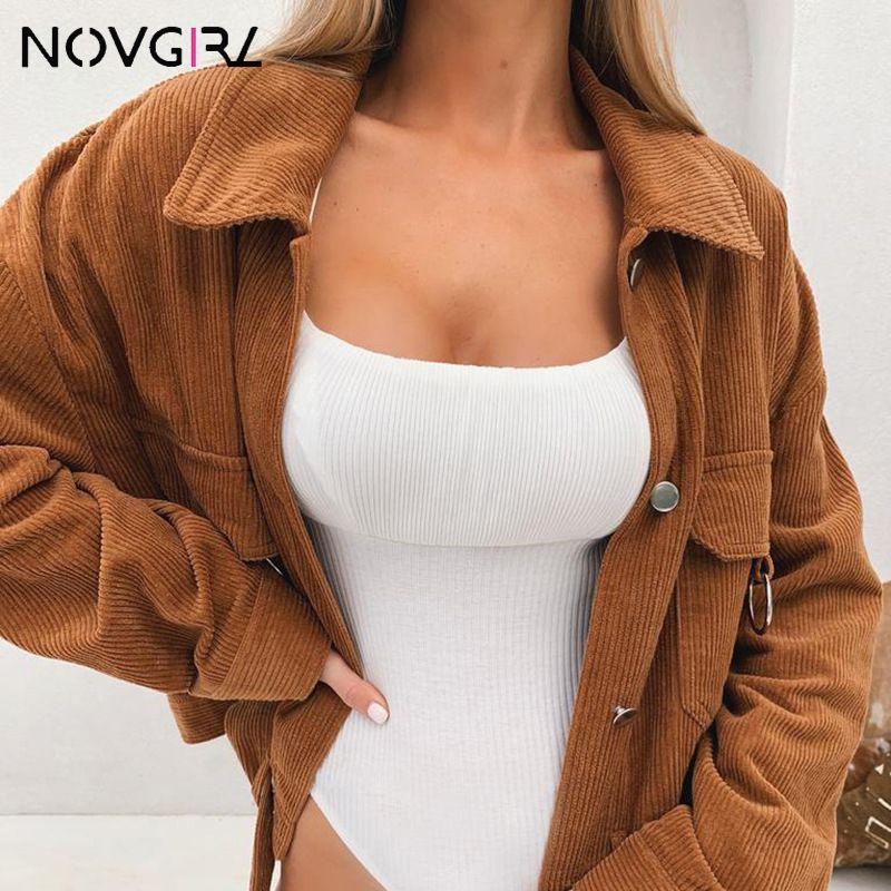 Novgirl Cool Girl Bomber Jacket Coat Women 2019 가을 겨울 턴 다운 칼라 메탈 링 새시 오버 사이즈 루스 코듀로이 오버 코트