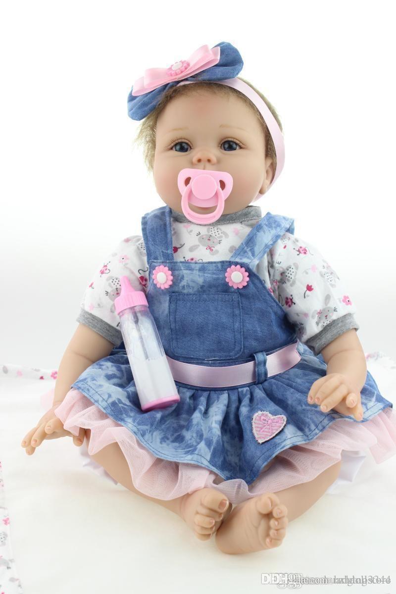 куклы 55см Reborn младенца Спящая кукла игрушки Новорожденные девочка Кукла Реалистичная День рождения Подарки Present играть дома игрушки для девочек Brinquedos