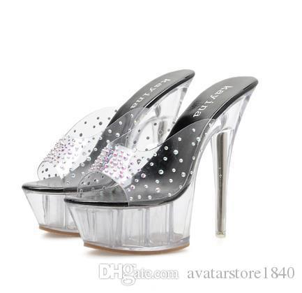 Plus size 35 to 40 41 15cm women shoes crystal transparent PVC clear heels