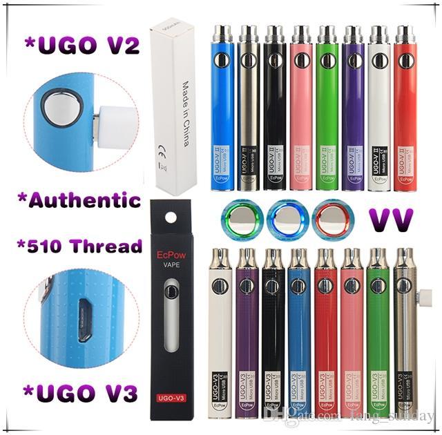 UGO V II EGO T تمر عبر E السجائر Vape وزارة الدفاع البطارية 650 900 ماه شاحن USB الصغير الكابلات eCigs eVod Vaporizer Pen