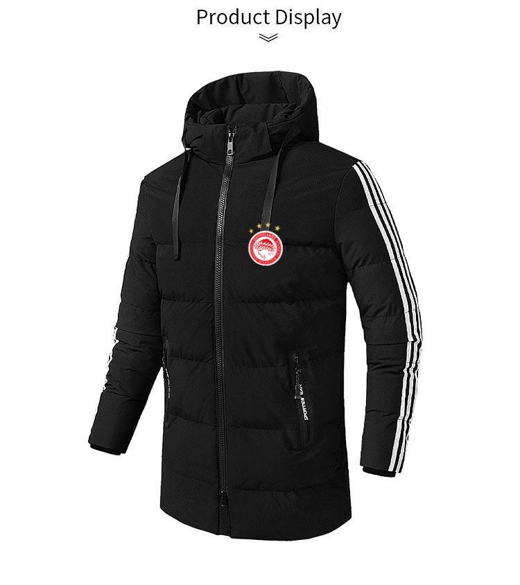 Oiympiakos мужские куртки 2020 Зимние виды спорта с капюшоном хлопчатобумажная куртка мужская средней длины хлопчатобумажная куртка футбольные спортивные мужские пуховые парки