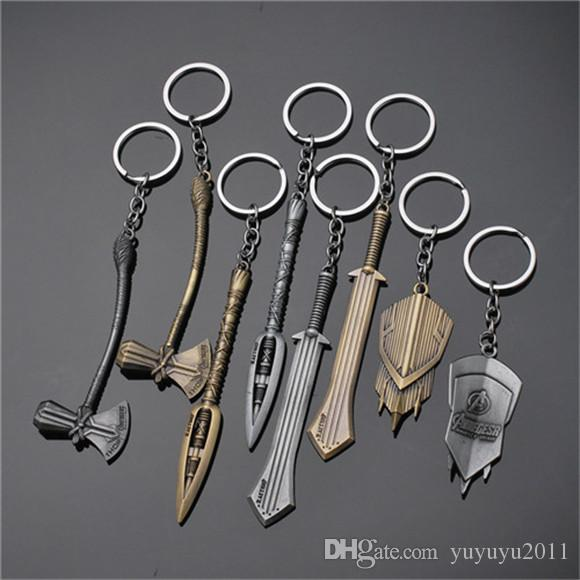 17styles Marvel Avengers 4 Keychain Thor Axe Hammer mjolnir Infinity War The Dark World Key Finder Bags Keyring Jewelry Accessories jssp001