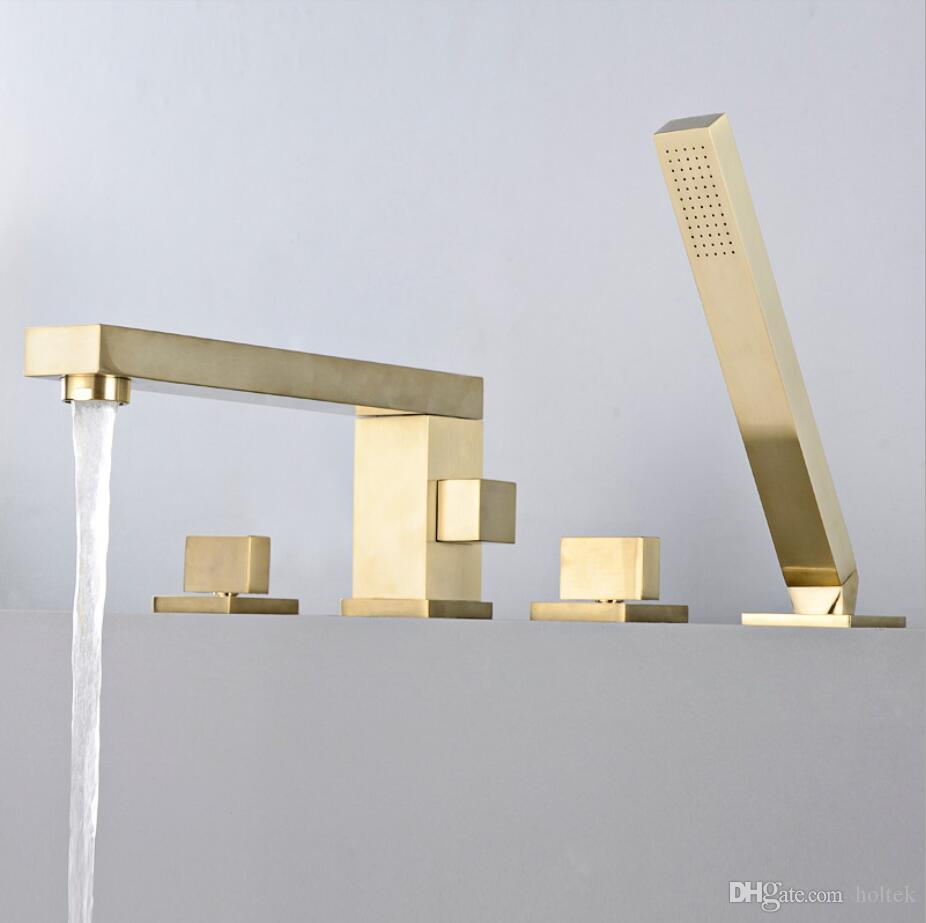 تصميم فاخر ساحة الشكل الذهبي إنهاء الخيالة حمام صنبور حمام حوض خلاط صنبور مع دش اليد رئيس دش صنبور مجموعات G6033