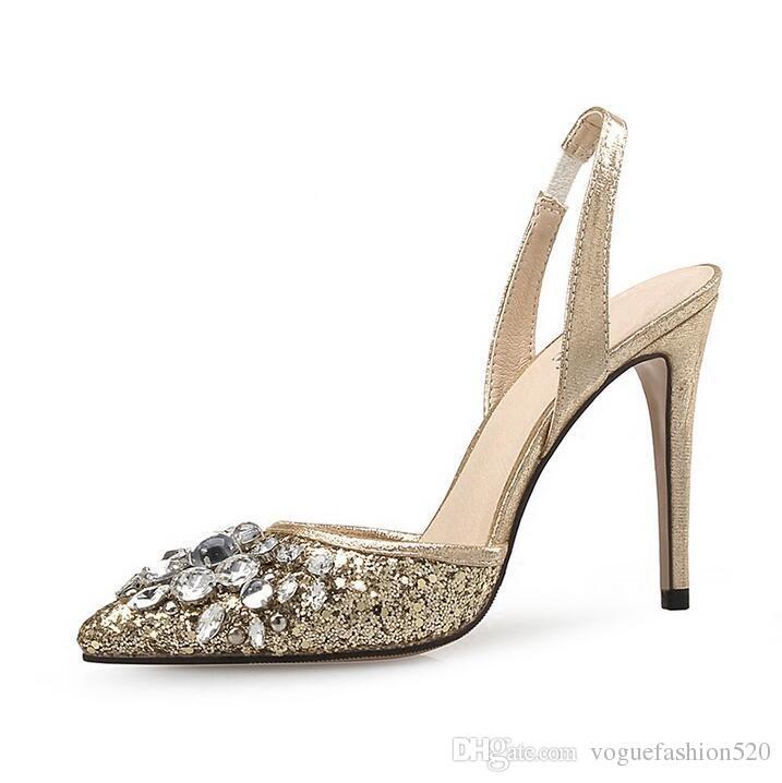 Seksi Altın Dantel Kristal Yüksek Topuk Pompalar Ayakkabı Sivri Burun Rhinestone Slingback Kadınlar Pompalar Ayakkabı Ince Topuklar Gelin Düğün ...