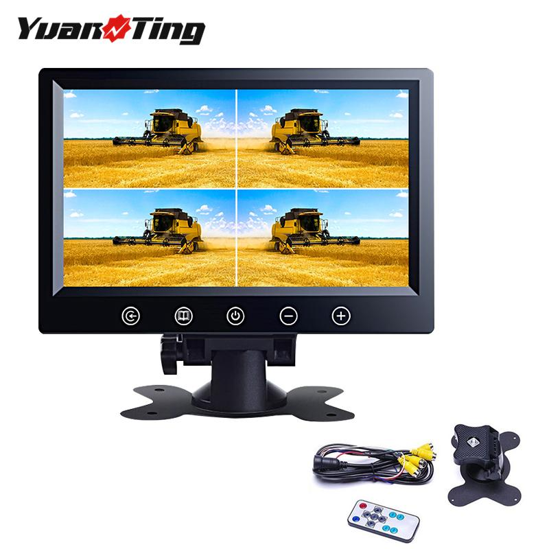 YuanTing 9 inch TFT LCD Car Rearview Quad Split Monitor 4 Channels with Remote Control & Stand For Caravan Truck Camera