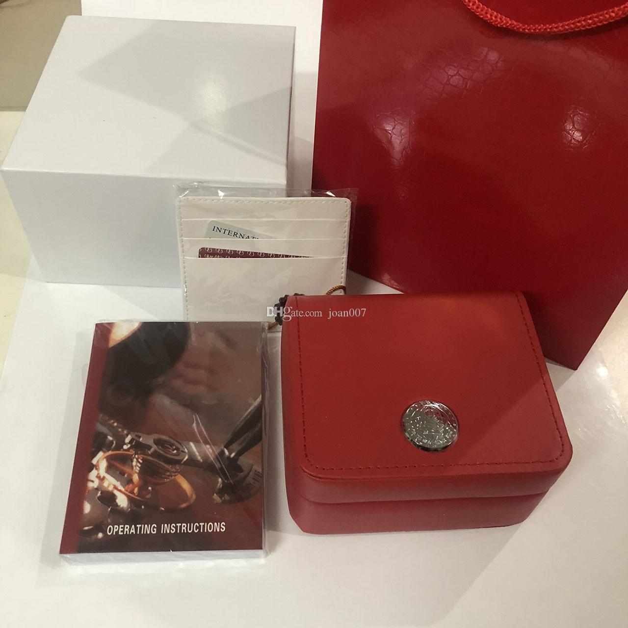 Yeni Meydanı Kırmızı İzle Kutusu İzle Kitapçık Kart Etiketleri Ve İngilizce Saatler Kutusu Orijinal İç Dış Erkekler Saatler Kutusu