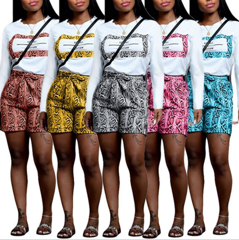 여자 뱀 가죽 조각 포켓 Streetstyle 운동복 의상으로 S-2XL 캐주얼 반바지를 설정 나비 넥타이 긴 소매 편지가 T 셔츠 2를 인쇄하기 인쇄하기