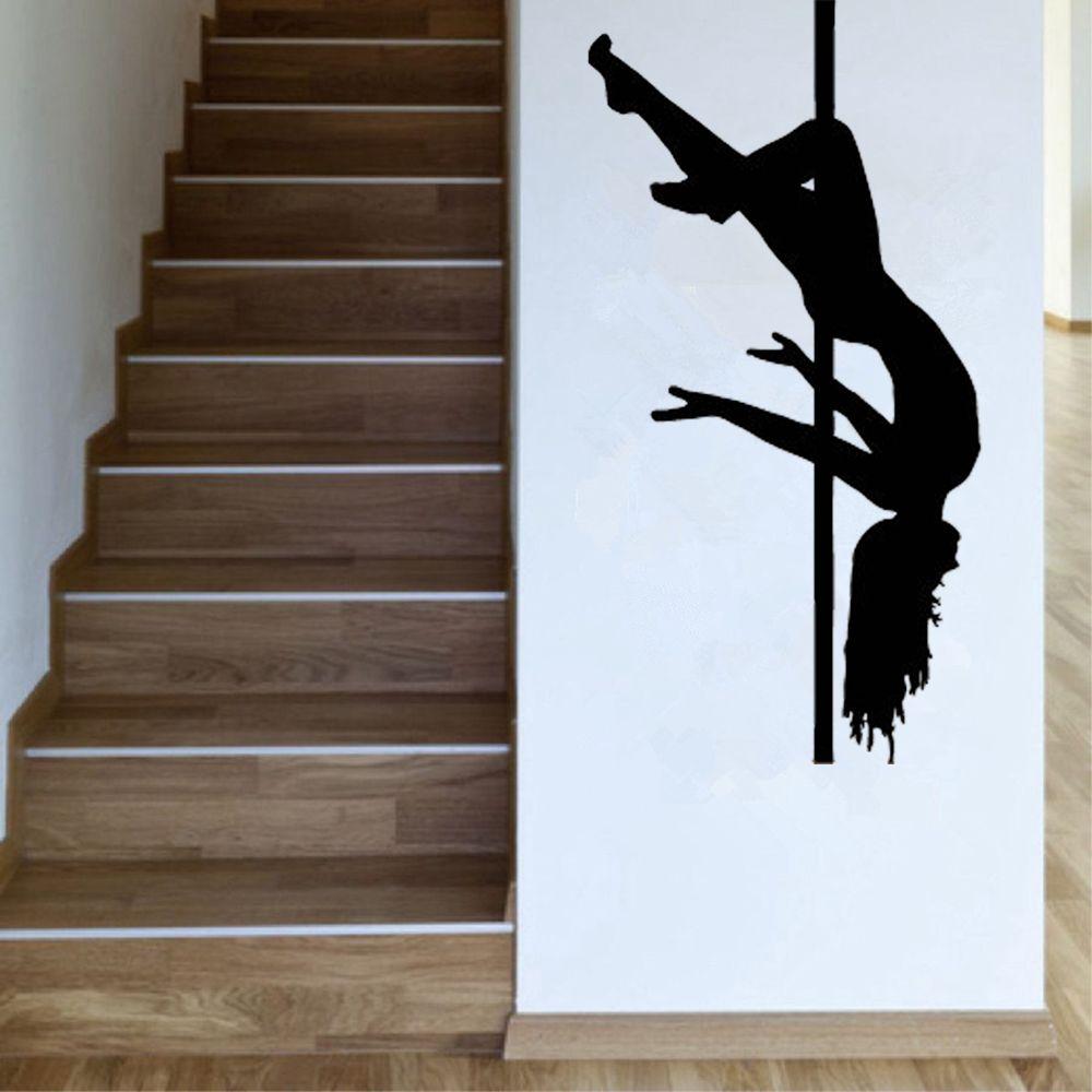 Sexy Girl Pole Dance Wall Sticker Vinyl Mural Girls Room Design Interior Decor Art Wallpaper Removable Waterproof Wall