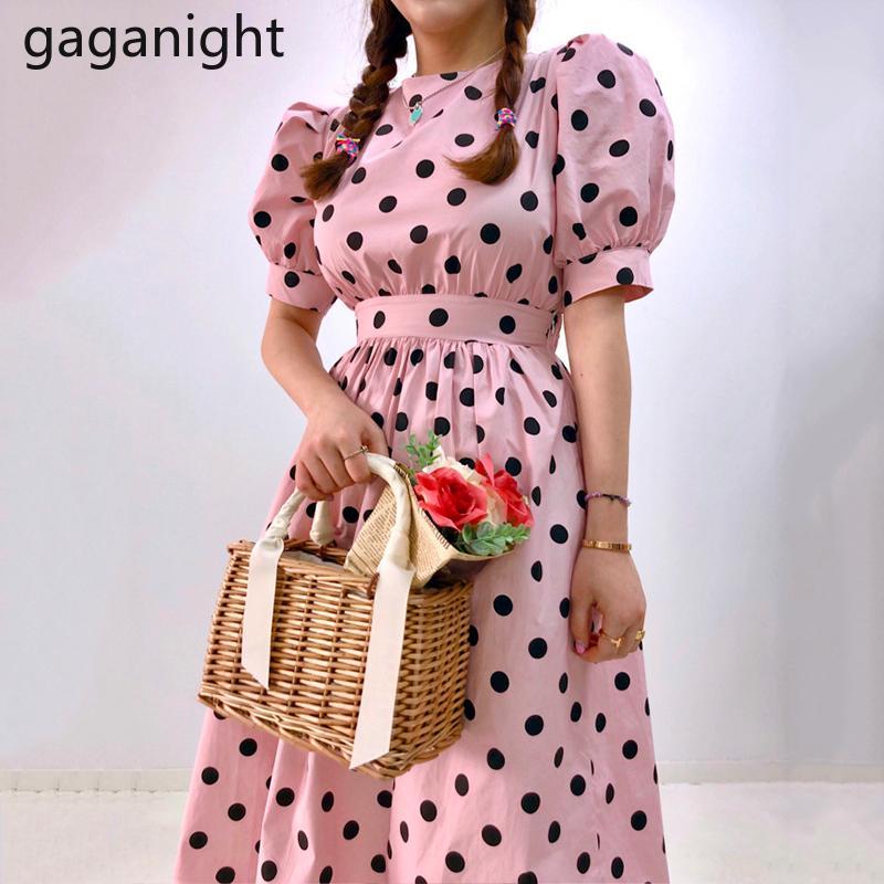 Gaganight Sweet Pink Polk Punkt-Frauen-Feiertags-Party-Kleid Backless Mode-Mädchen-Weinlese-Maxi Kleider Chic Korean A Line Vestidos