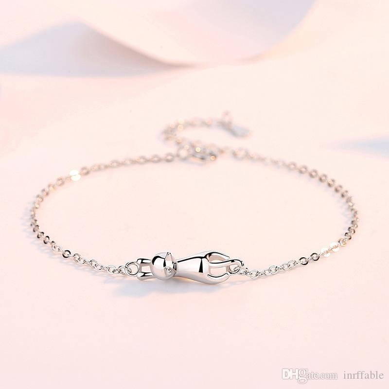 Braccialetti di fascino gatto Braccialetti per le donne 925 sterling argento catena di collegamento a catena semplice braccialetto gatto femmina partito regalo ambra