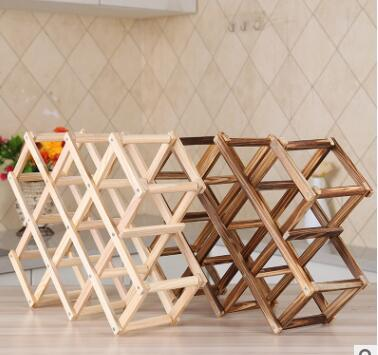 2019 Classical Wooden Red Wine Rack Beer Foldable 10 Bottle Holder Kitchen Bar Display Shelf Organizer Home Table Drink Bottle Decor From