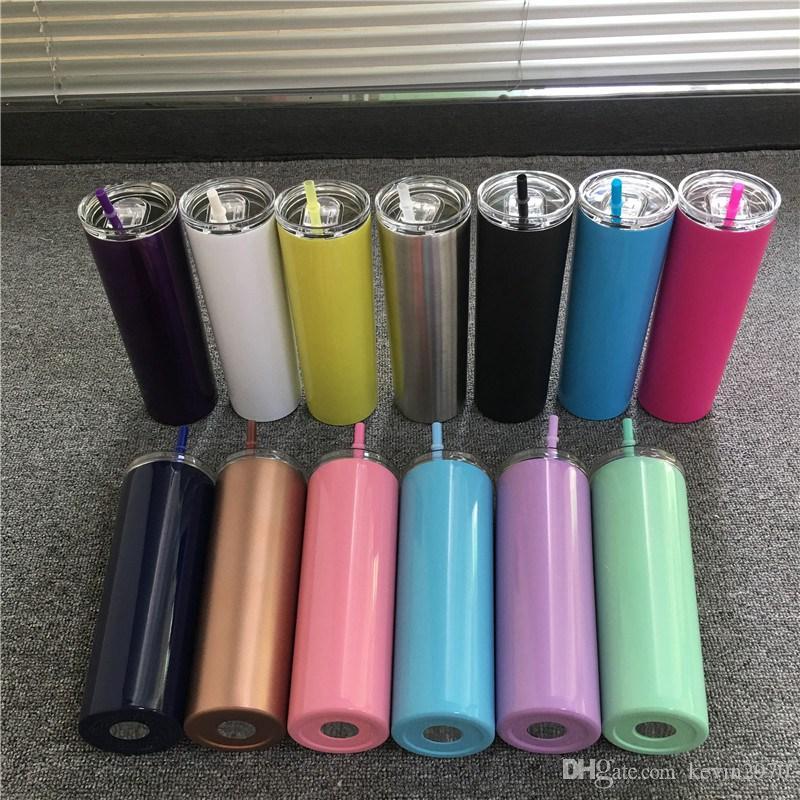 Nuevo 20 OZ inoxidable Vaso Con sello tapas del arco iris pajas Thermos doble aislamiento flaco Copa de acero inoxidable 08