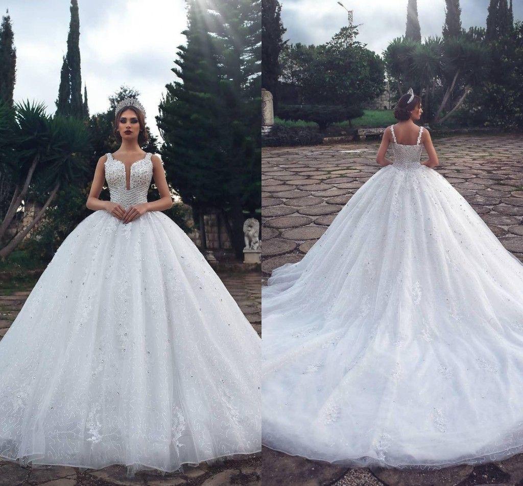 Cristalli di lusso abito di sfera arabo abiti da sposa 2019 vintage in pizzo con paillettes in rilievo plus size musulmano dubai vestido de novia abiti da sposa