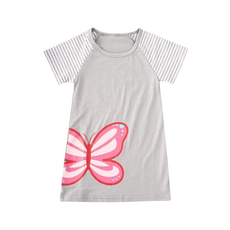 Mode Bébé fille Robe manches courtes en coton imprimé papillon d'été Party Casual Princess Dress