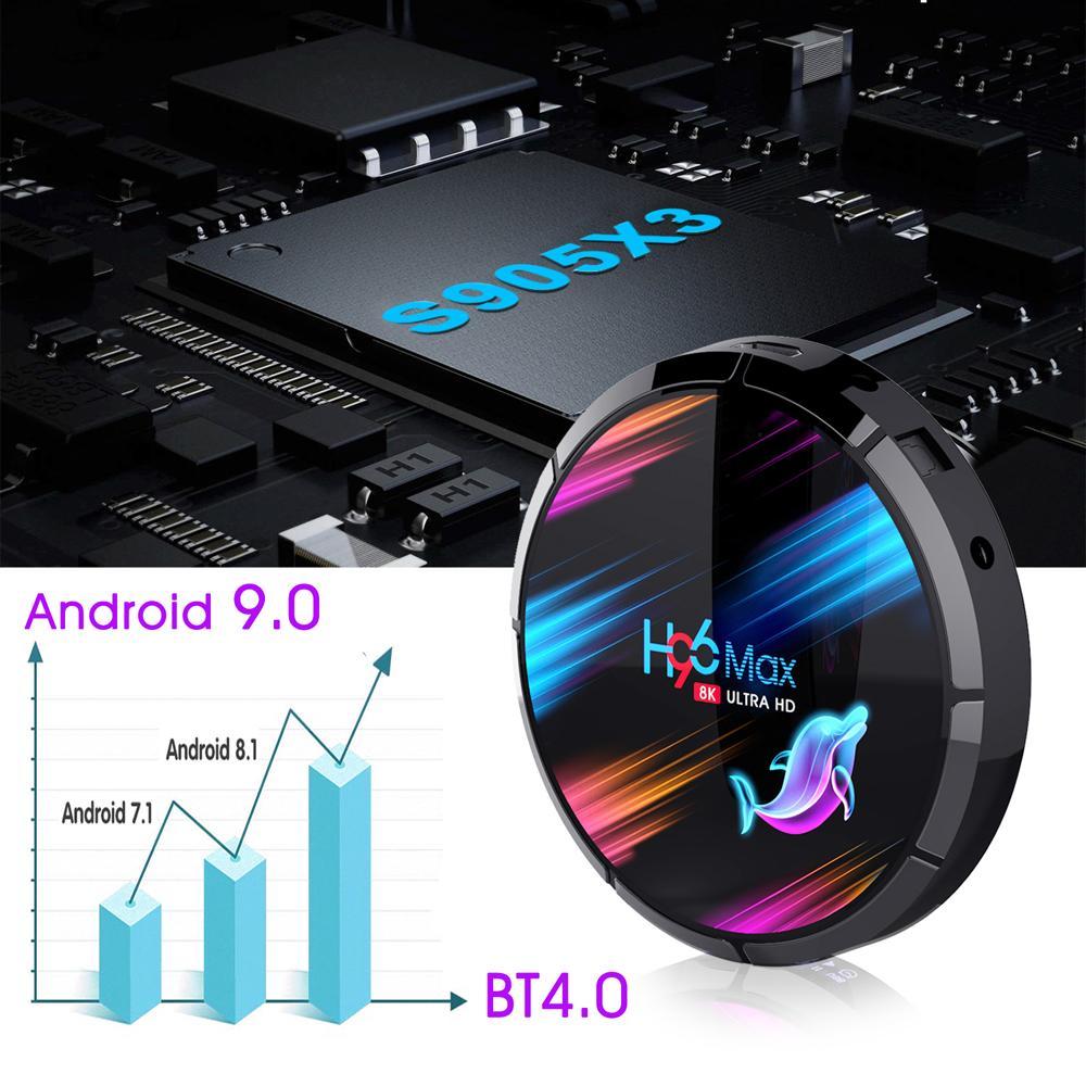 H96 MAX X3 8K Android 9.0 TV Box 4GB 64GB AMLOGIC S905X3 2.4G 5G المزدوج العلامة التجارية WiFi BT4
