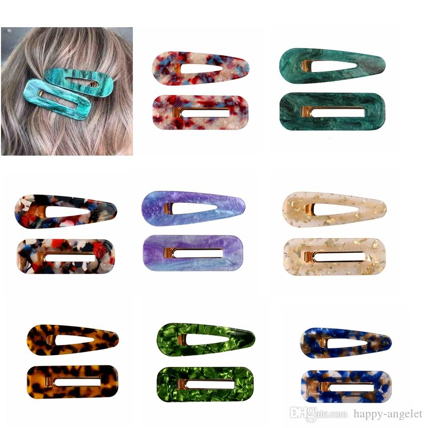 Acrylic Hair BB Clip Snap Barrette Accessories Hairpin Girls Boutique Acetic Acid Rectangle Waterdrop Hairgrip Gift package 50pair FJ902
