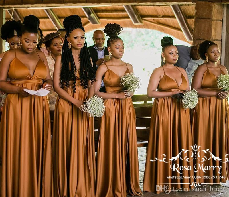 Plus Size African Cheap Bridesmaids Dresses 2020 A Line Long Satin Black Girls Country Beach Maid Of Honors Wedding Guest Gowns Wine Bridesmaid Dresses Yellow Bridesmaids Dresses From Sarah Bridal 127 64 Dhgate Com