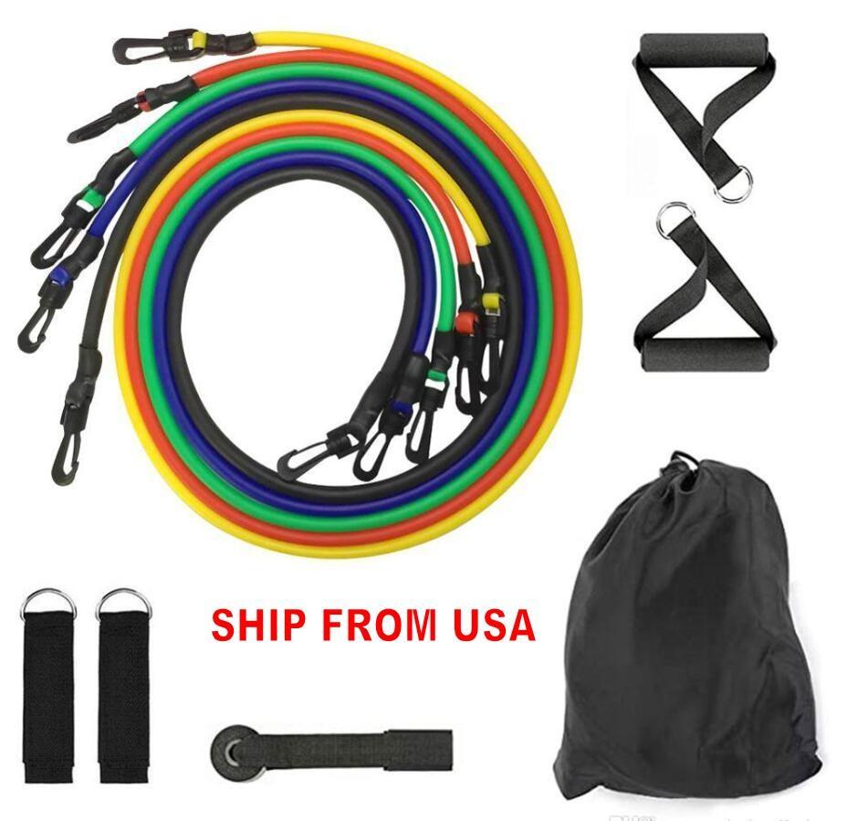 ABD Stok DHL 11pcs / Set Doğal Kauçuk Lateks Spor Direnç Gruplar Egzersiz Tüpler Pratik Elastik Eğitim Halat Yoga Çekme Halat Pilatus