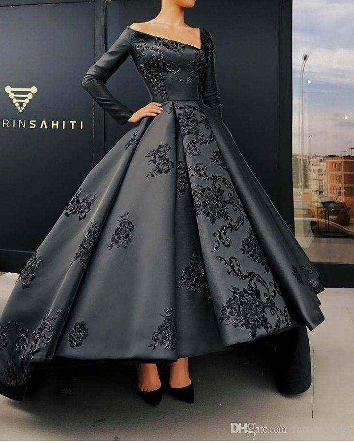 Black 2019 New Designer Prom Dresses Deep V Neck Long Sleeves Hi-Lo Lace Applique Ball Gown Formal Dress Evening Party Gowns robe de soiree
