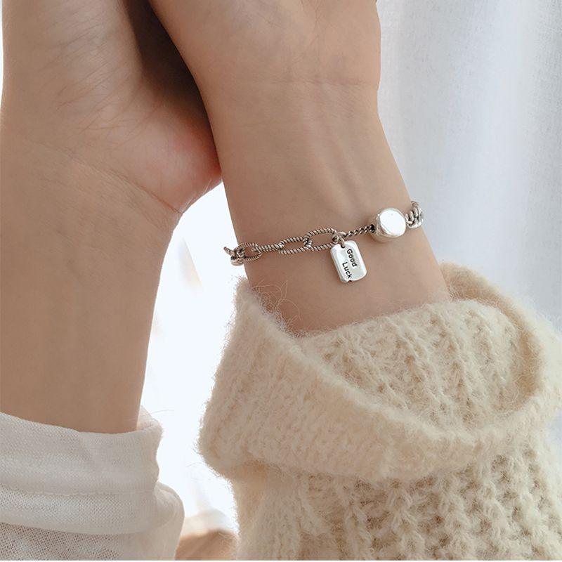 925 Sterling Silver Vintage Jewelry Square Letter LUCK Thai Silver Bracelet For Women Lock Chain Bracelet Jewelry S-B335