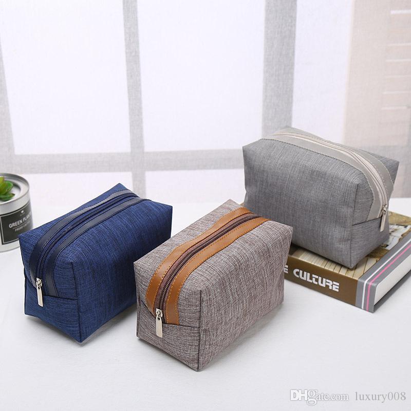패션 휴대용 화장품 가방 간단한 사각형 가방 스토리지 사용자 정의 로고 지퍼 핸드백 홈 가구 패션 통근