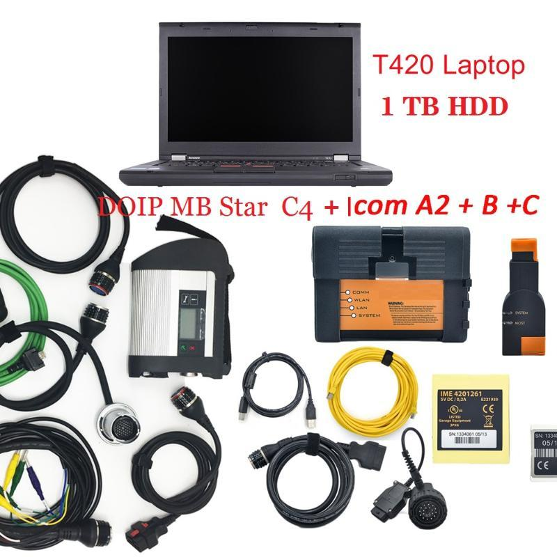 super DOIP MB Star C4 & ICOM A2+B+C for for Mecerdess cars diagnostic scanner V03/2020 in 1tb HDD +T420 laptop ready to use