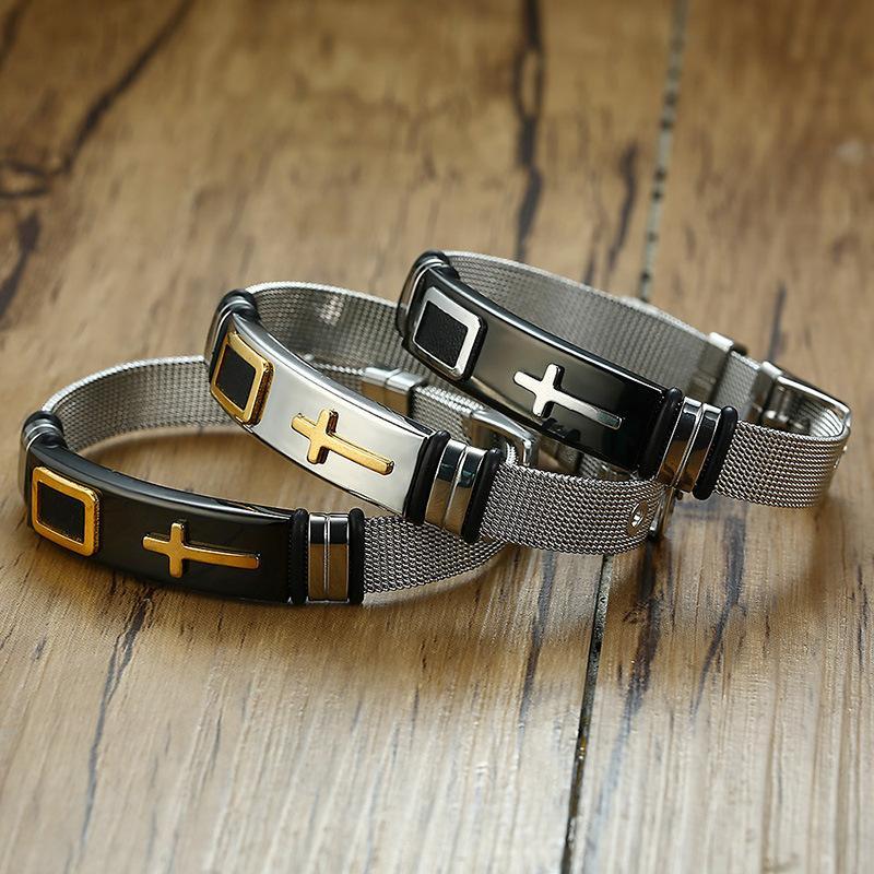 Mens braccialetto 12 millimetri di larghezza maglia braccialetto della traversa dell'acciaio inossidabile selvaggio studente regolabile causale braccialetto jewerly di alta qualità color oro siver