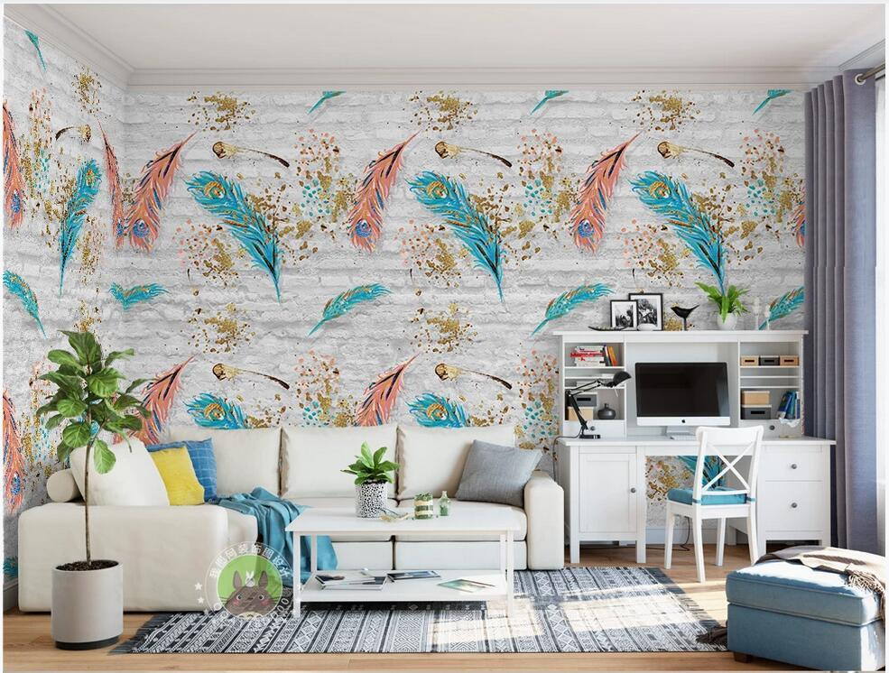 3d обои фото на стене обычая росписи Nordic минималистских кирпичной стены перо настенных ТВ фоне стена обои для стен 3 д