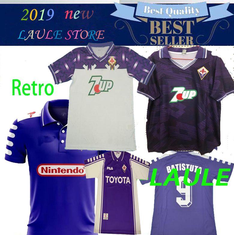 1998 1999 2000 Retro Fiorentina camiseta de fútbol jerseys BATISTUTA RUI COSTA vendimia personalizada 92/93 Florencia Inicio Fútbol larga Camisas de Futebol