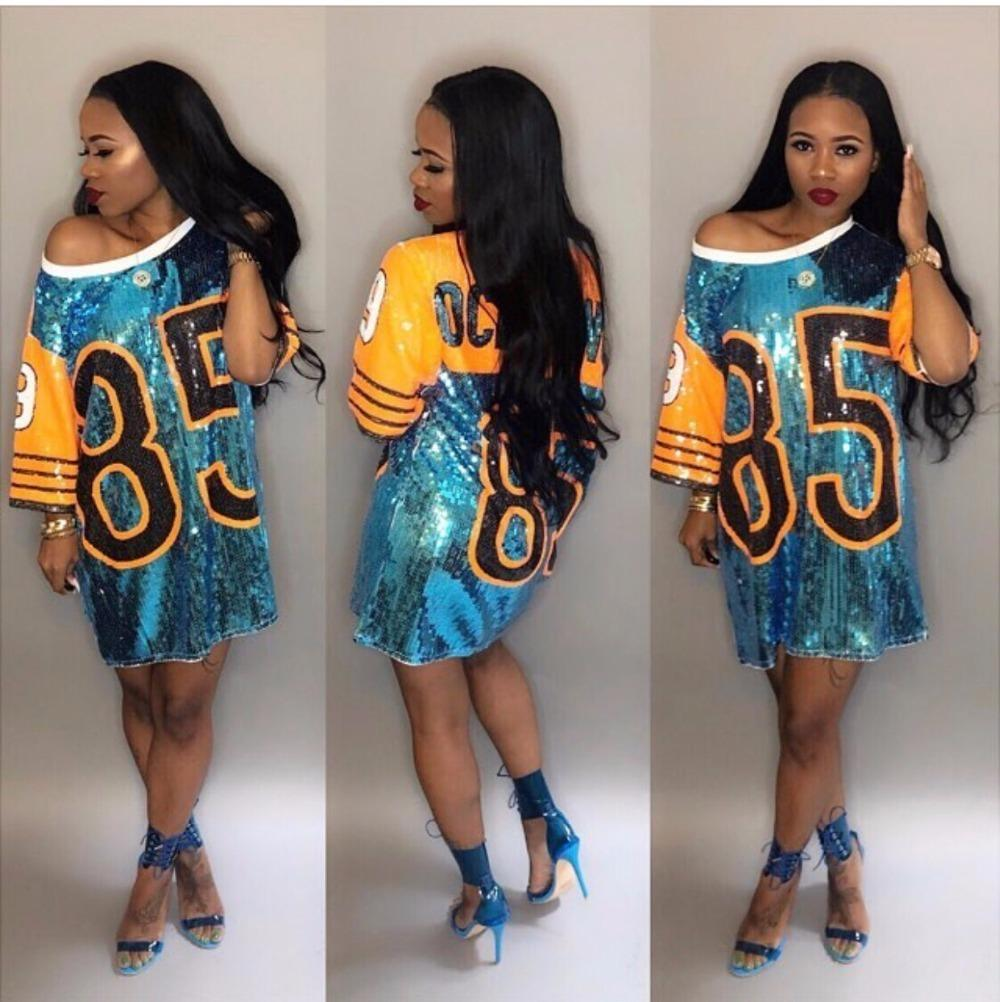 Women Performance Costumes Cheerleaders Loose Oversized Causal 85 Letter Shift Sequin T Shirt Mini Dress Hip-hop Long Tee Y19051001