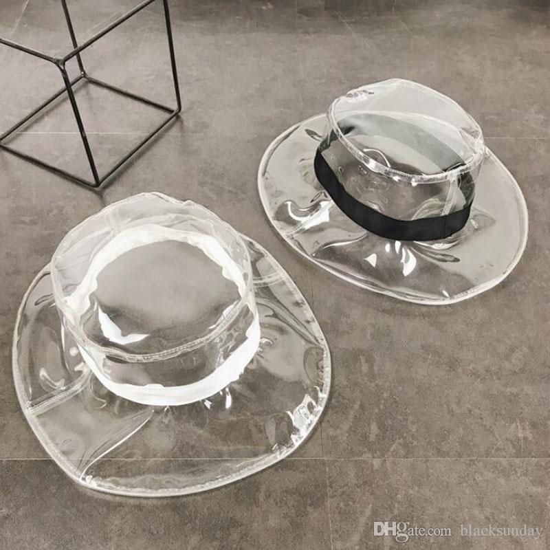 Ins Party Top Hats PVC transparent chapeaux imperméables femmes mode d'été décontracté chapeau plat avec ruban