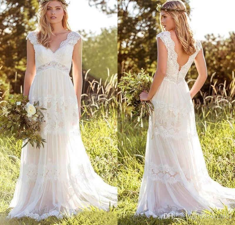 겸손한 여성 보헤미안 웨딩 드레스 레이스 신부 가운 Backless Vestido de Noivas V 목 캡 슬리브 웨딩 드레스 Vestito Da Sposa Plus 크기