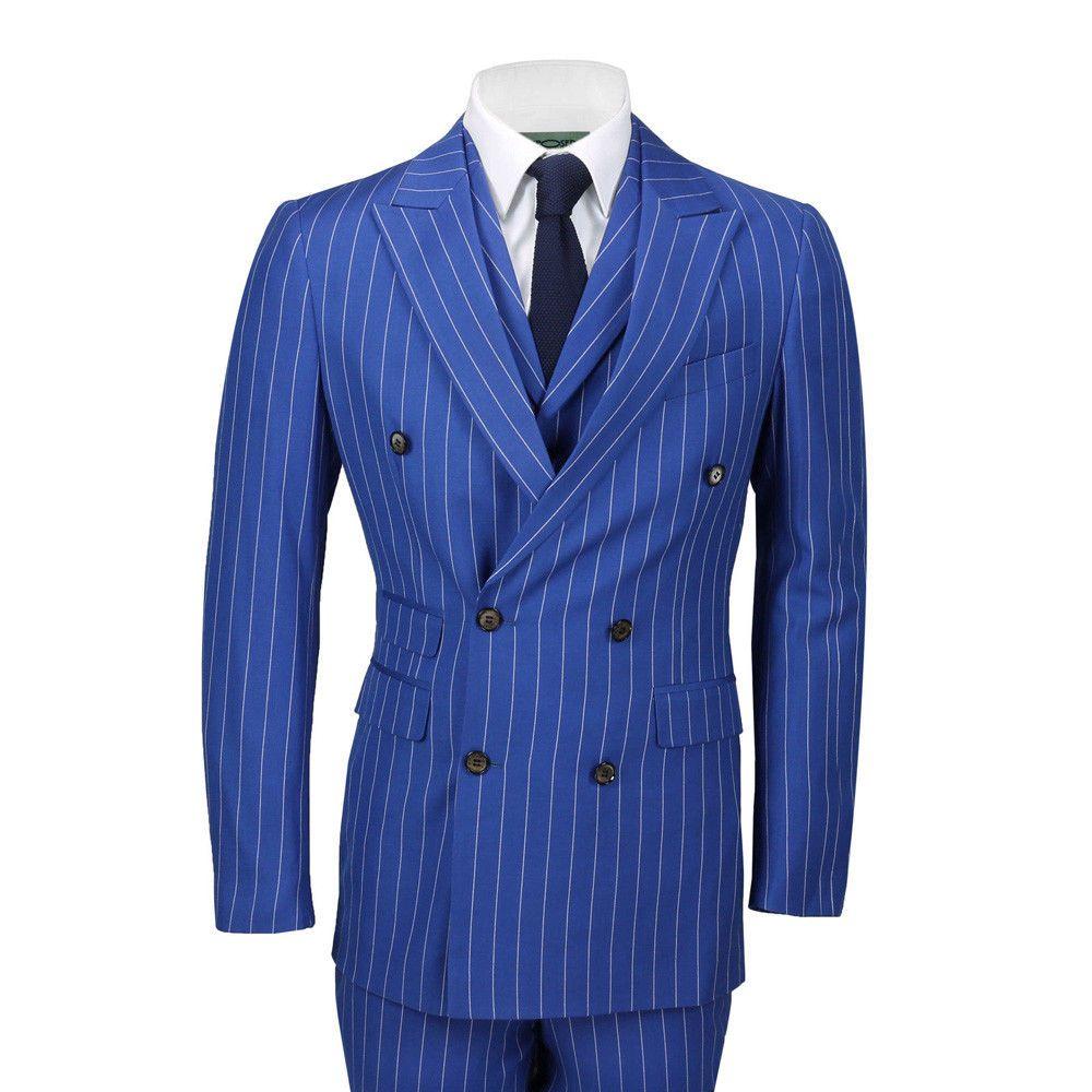 남성 정장 3 조각 더블 브레스트 넓은 분필 줄무늬 로얄 블루 클래식 복고풍 맞는 신랑 착용 정식 웨딩 드레스 웨딩 턱시도