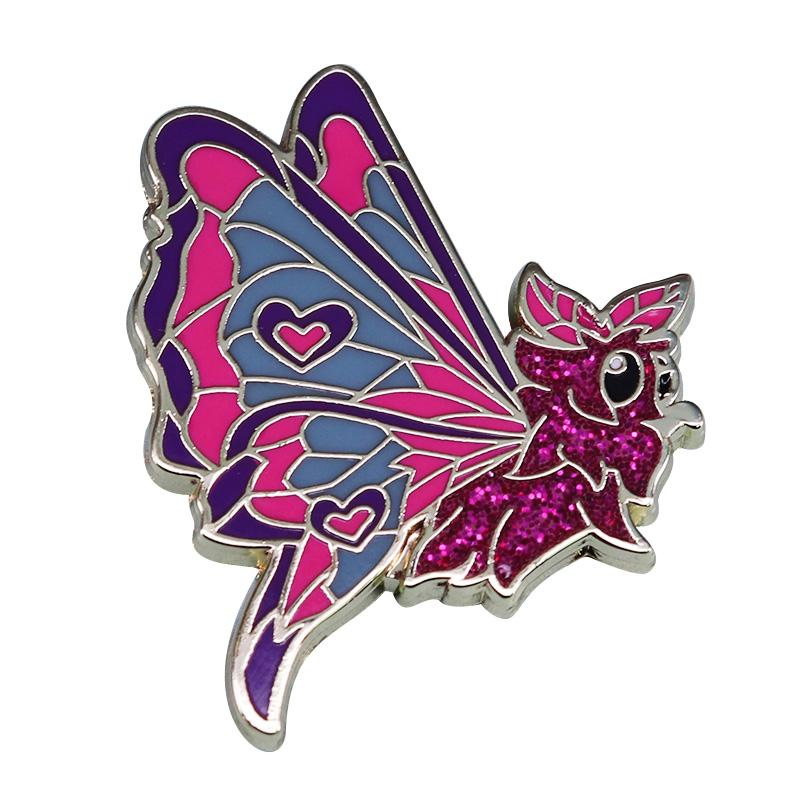 Glitter moth badge mini new life beautiful insect lovers collection