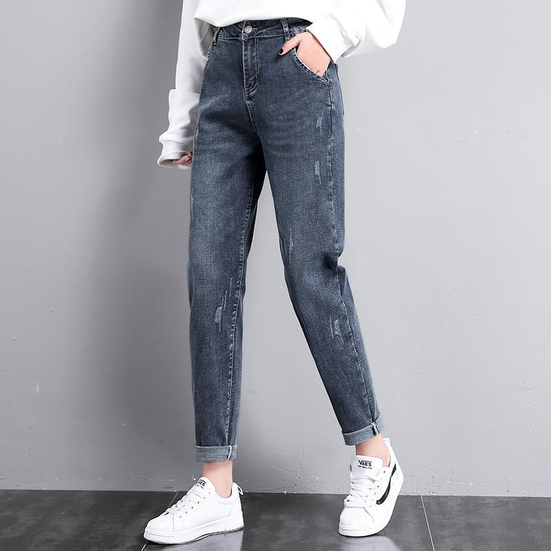 Женские джинсы Женщины 2021 Парень для женщин Урожай Женская Джинсовая Джинсовая Женская Талия Свободные Брюки Женщина царапаны