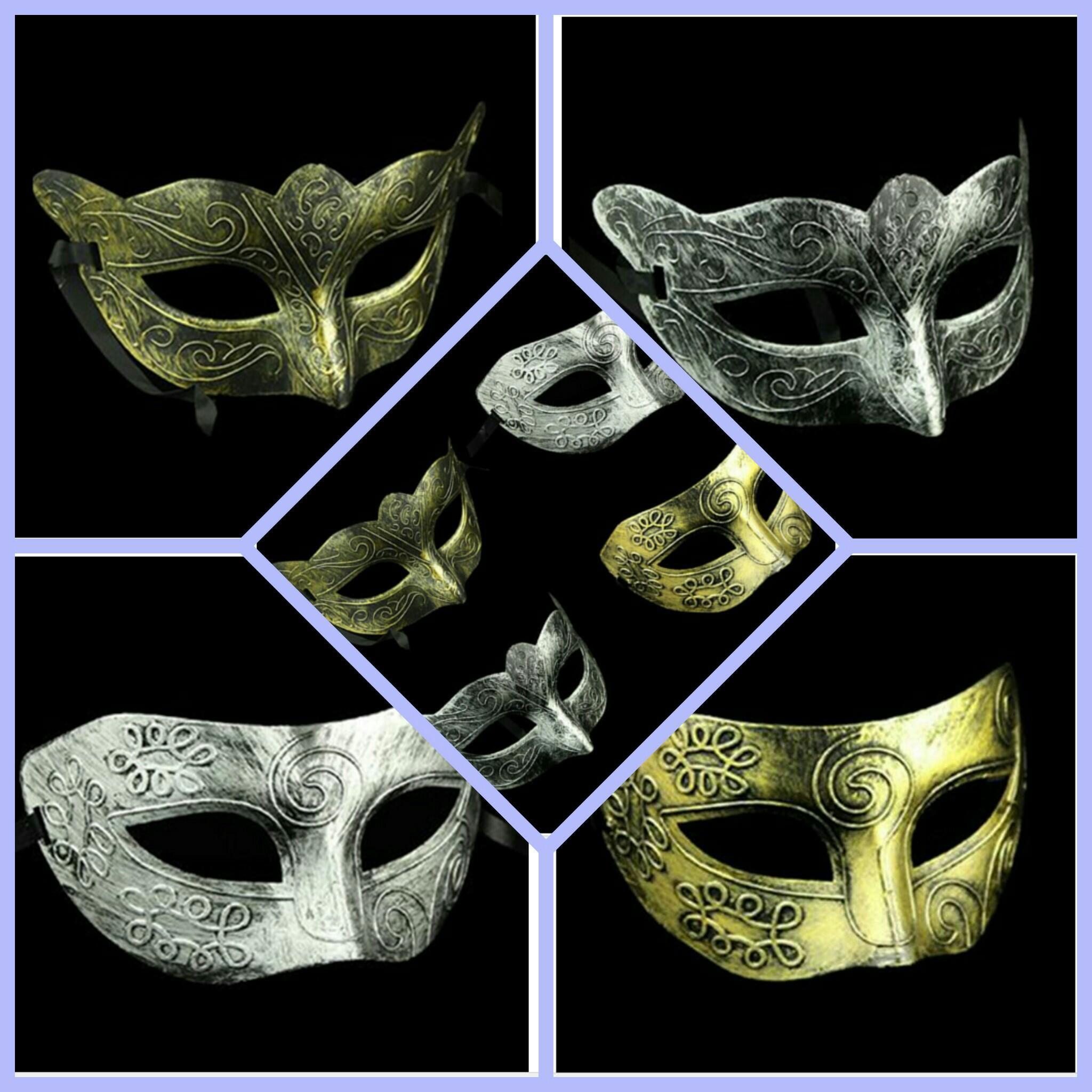 Retro Roman Prinz Gold / Silber-Maske Repli Jazz-Mann an der Maskerade-Silber Karneval Halloween-Weinlese-Halbmaske - Gesichtsmaske WL02
