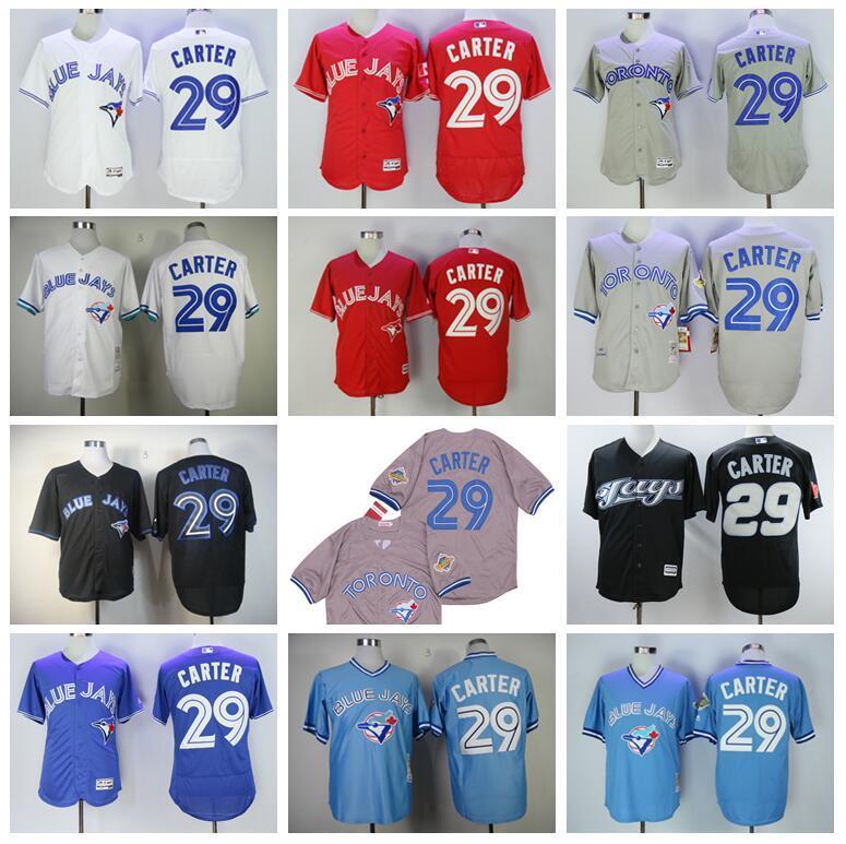 Vintage 29 Joe Carter baseball Jersey Uomini Flexbase basso freddo del pullover della squadra Rosso Blu Bianco Grigio Nero cucito Sul andare in pensione 1992 1993 2008