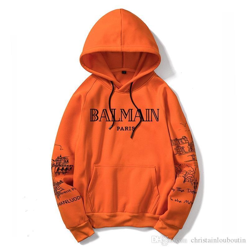 Balmain Deportes sudadera con capucha de la chaqueta Hombres Mujeres camiseta de manga larga otoño rompevientos ropa para hombre de gran tamaño con capucha