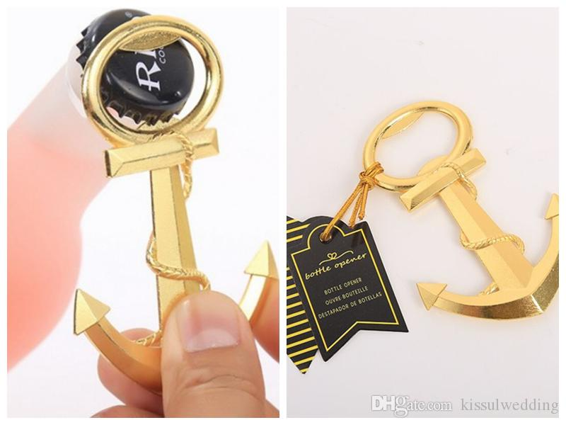(40 Pieces/lot) Event and Party favors of Gold Nautical Anchor Bottle Opener Wedding decoration favors and Party gift for Beer bottle opener