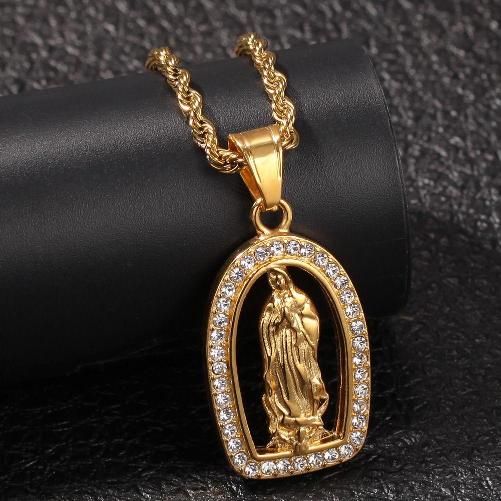 New Gold Hip Hop Bling Diamant Die Jungfrau Maria Halskette Kette für Männer Bijoux Rapper Mens Cuban Ketten Schmuck-Geschenke für Männer