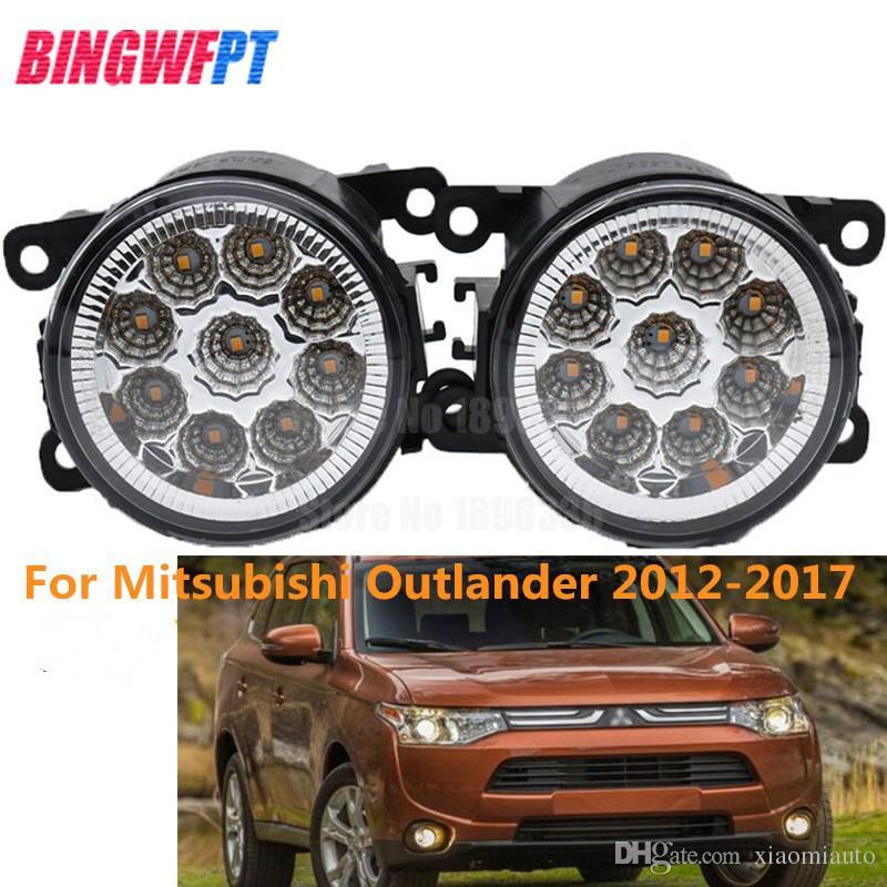 2pcs de voiture style led feux de brouillard avant blanc jaune rond lampes de pare-chocs pour Mitsubishi Outlander 2012-2017