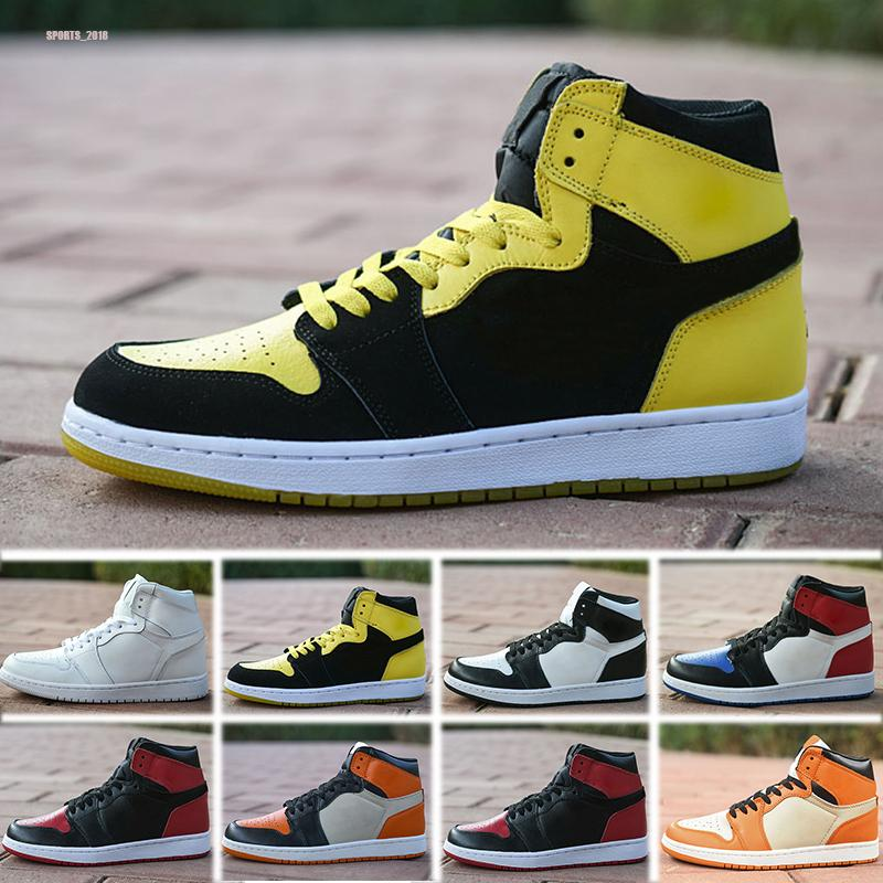 Nike Air Jordan 1 Comércio por grosso 1 OG High Bred black red white men basketball shoes 1s women sports outdoor fashion trainers sneakers size 36-45