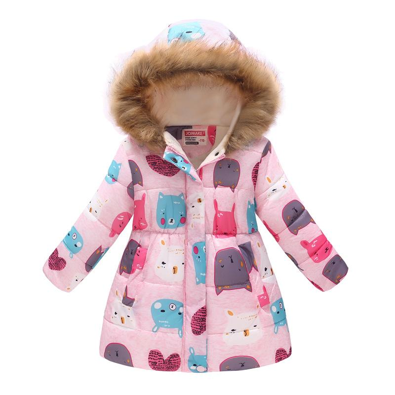 Winter Girls Long Coats Thick Fleece Children Down Jacket Hooded Outfits Floral Baby Girl Outwear Clothes Kids Overcoat Leopard