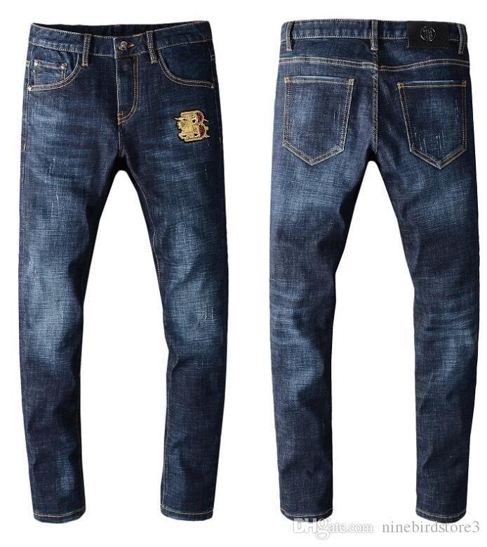 INS personnalité couleur jean bleu jeune homme animaux lettres imprimées réunissant ses pieds cultivent de JOKER morale pantalon