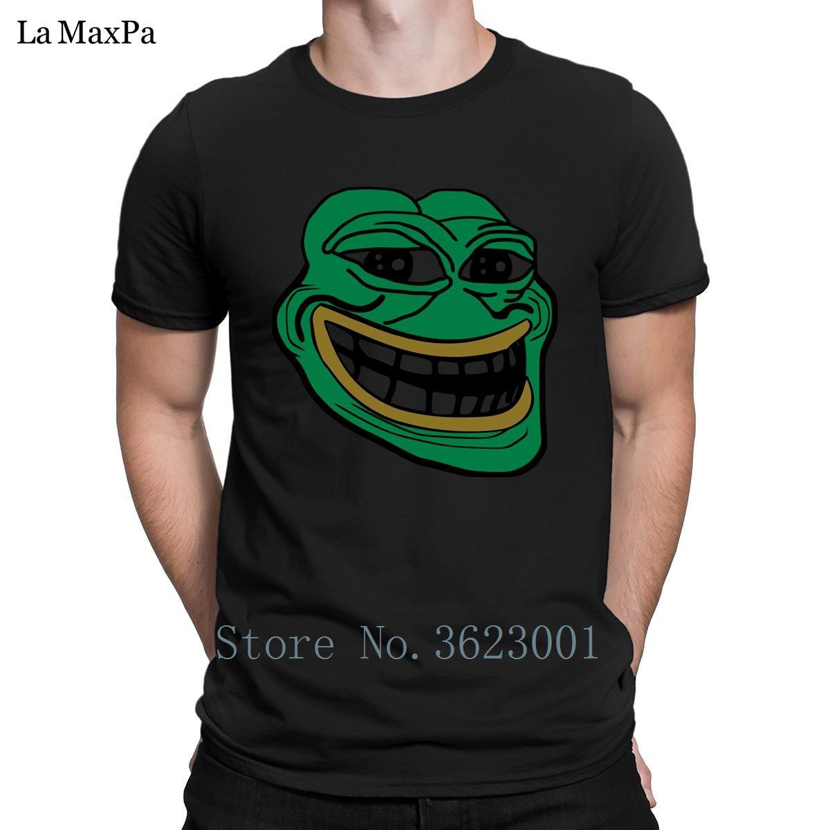Печать Letters Men T Shirt Solid Color Pepe троллей Frog T-Shirt Повседневная стильная футболка Crew Neck Tee Shirt For Men Fit
