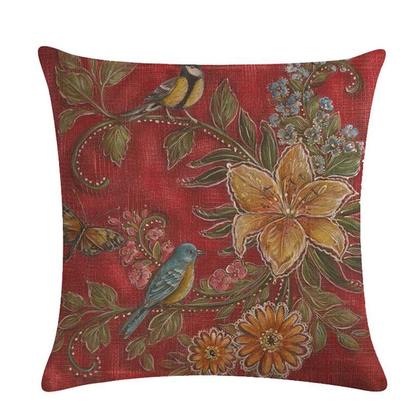 Nordic-Art Vintage Blumen und Vögel Dekorative Kissen-Abdeckungen 45 * 45cm Leinen Dekokissen Abdeckung für Sofa-Couch Stuhl-Sitz-Bett