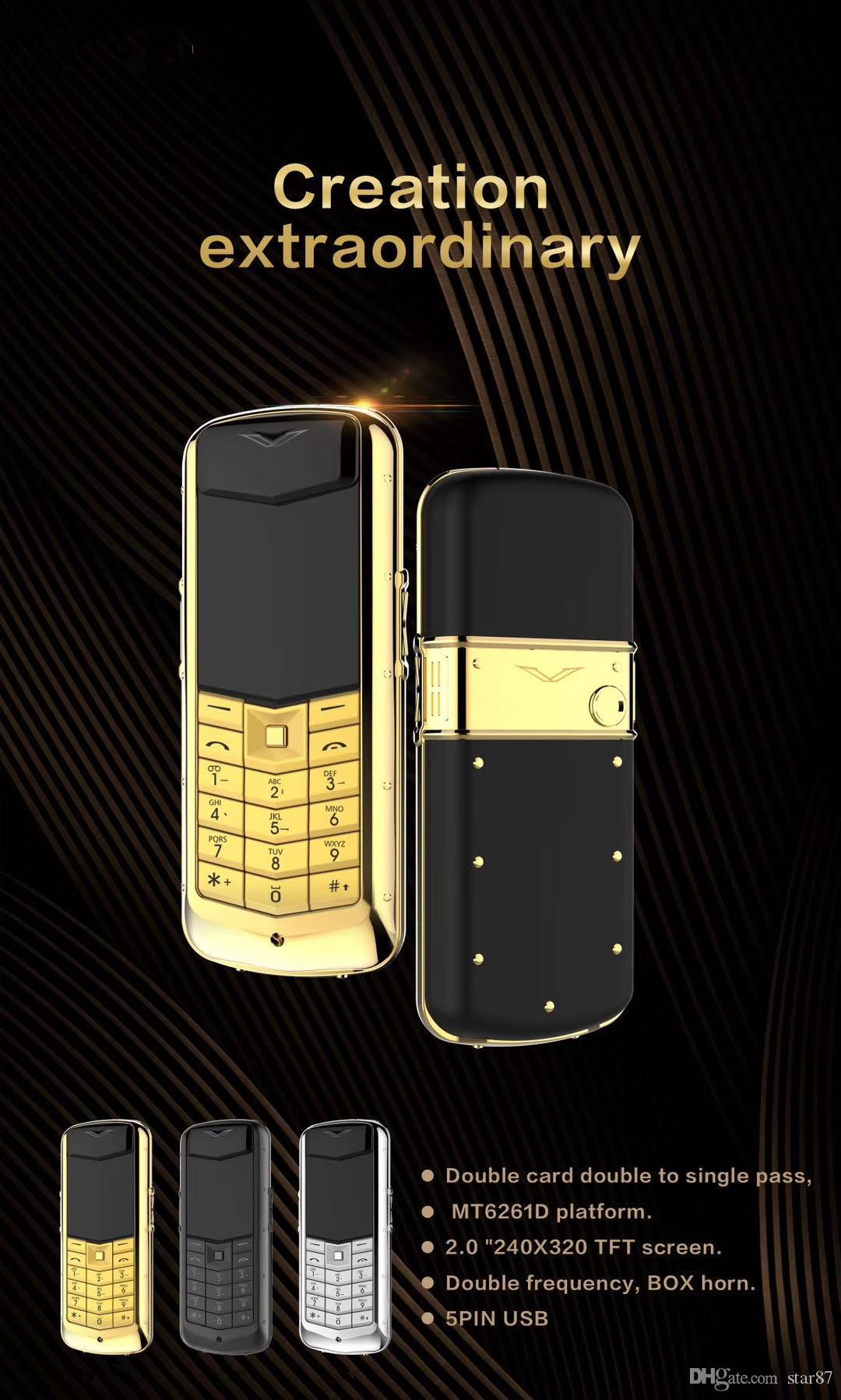 Luxury constellation stainless steel Gold cell Phone Metal Body Dual Sim card No Camera MP3 Quad Band celular Leather Signature Mobile Phone