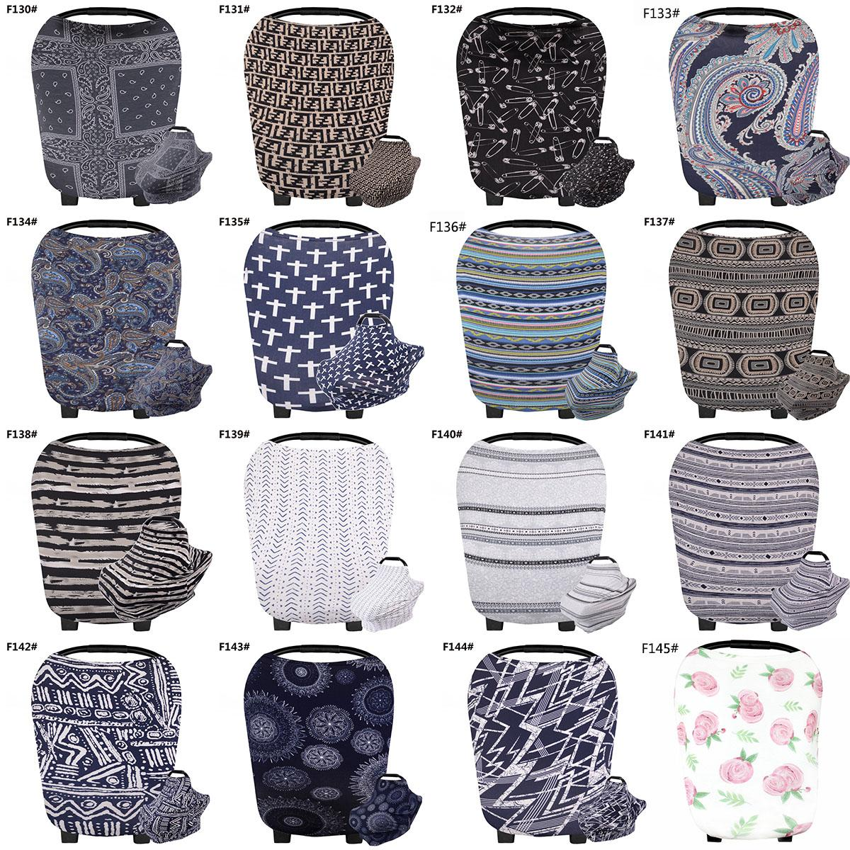 145 Styles INS Floral Stretchy Cotton Baby Nursing Cover breastfeeding cover Stripe Safety seat car Privacy Cover Scarf Blanket M1965