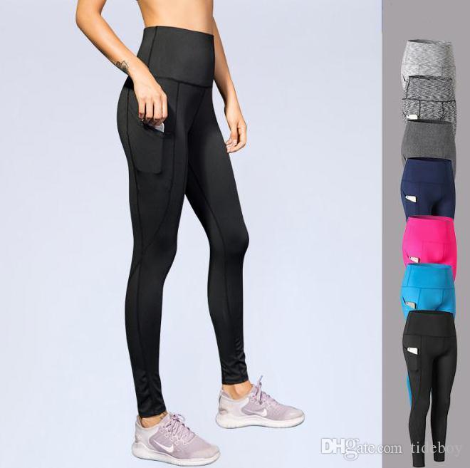 Женские штаны с высокой талией для йоги Косые карманные фитнес-беговые тренировочные стрейч-быстросохнущие колготки Спортивные штаны